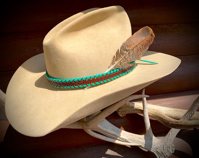 Leather hat band, natural tooled leather with turquoise leather laced edge, 3/4 wide, western hat band with choice of hat feather included