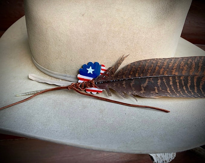 FEATHER SAVER, Hat feather tie, custom painted leather  concho feather saver, western retro hat accessories, art, attach feather to hat