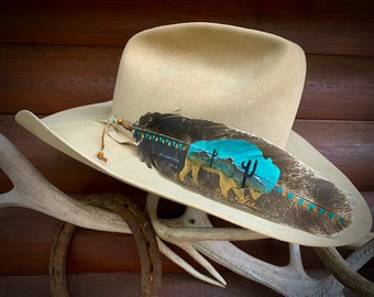 Where the Buffalo Roam, custom hat feather, HANDMADE in USA, rare smudged turkey feather, hand painted in southwest Buffalo desert scene art