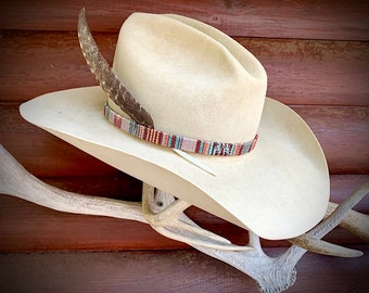 Southwestern hat band, 1/4 inch wide, southwest cloth covering leather, adjustable leather ties, western retro cowboy hat band, boho, hippie