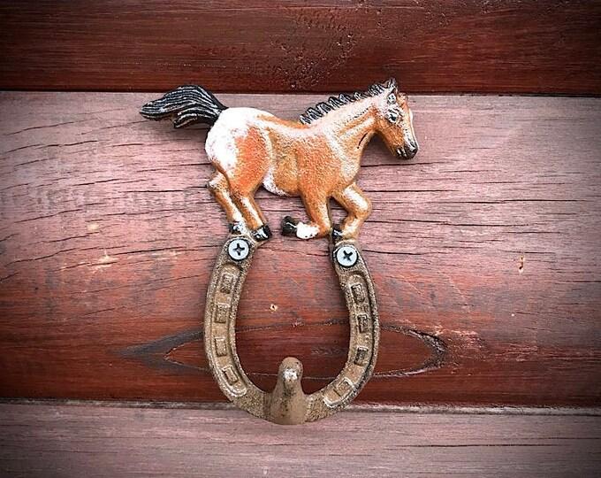 Rustic decor, iron hook, cap hook, towel hanger, bridle hook, running horse