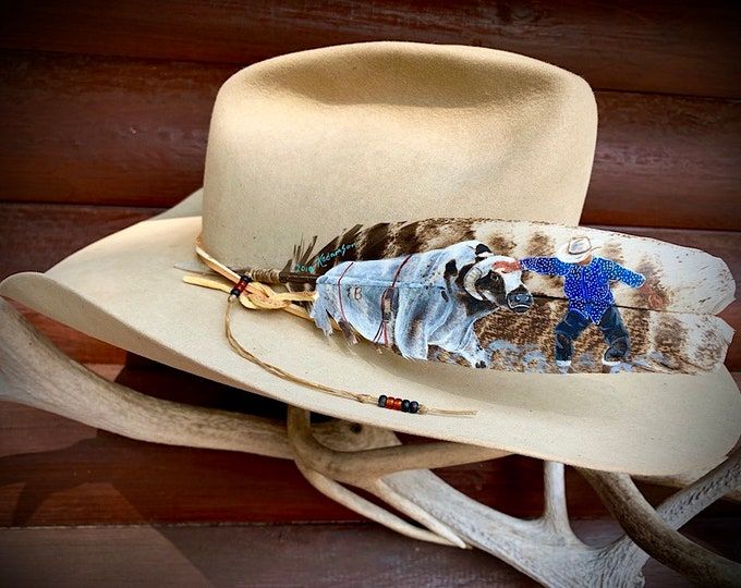 Custom hat feather, Rodeo clown, Bull fighter, American Freestyle Bullfighting, rodeo cowboy, cowboy hat, western retro, hat accessory
