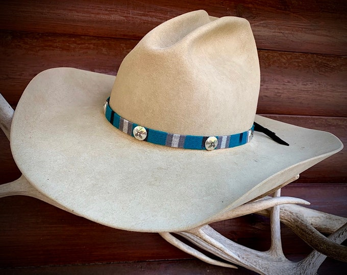 Turquoise hat band with silver conchos engraved with zia symbol, cloth style, leather ties, hat accessory, small plain hat feather optional