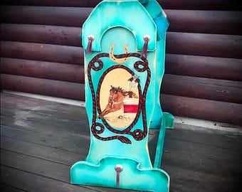 Custom saddle stand, barrel racer saddle rack, antiqued turquoise, custom painted sorrel horse hand tied leather, conchos, western decor