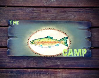Custom sign, personalized with your name, trout fishing, fishing decor, lake home decor, fishing cabin sign, fly fishing, funky fish design