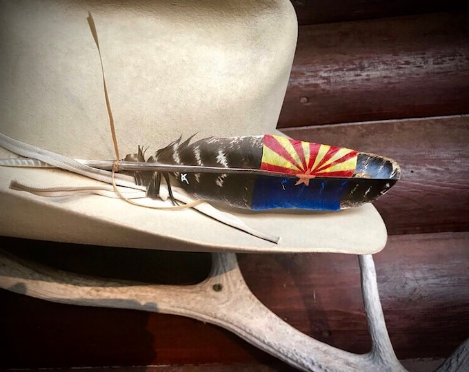 Custom flag hat feather, Arizona flag, Arizona hat feather, custom hat feather, Arizona cowboy, Arizona cowgirl, cowboy hat, cowgirl hat