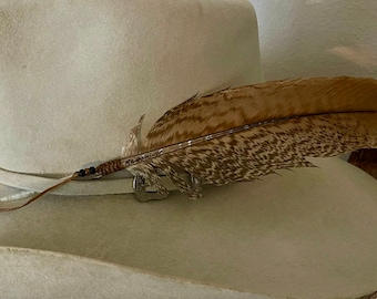 One of a Kind, cowboy hat feather, rare natural turkey feather, cowgirl hat feather, custom hat feather, unique tan, cream and bronze