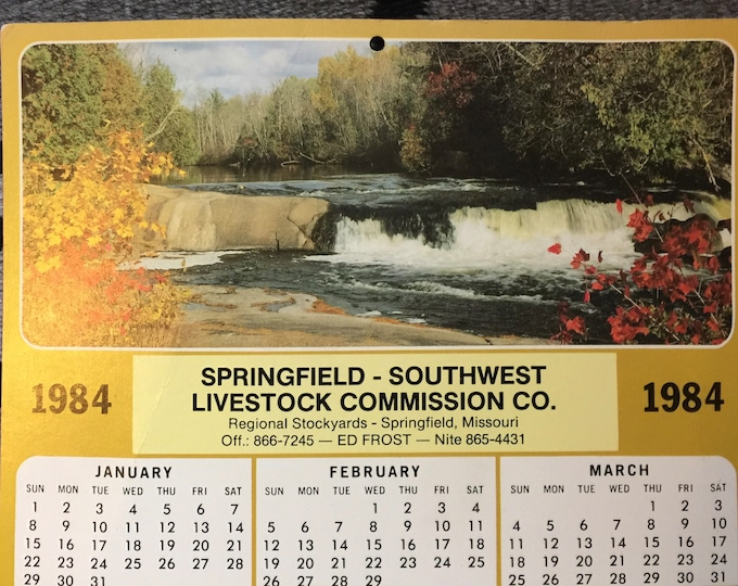 Vintage stockyards memorabilia, western art and collectables, 1984 Springfield, Mo. southwest livestock auction calendar, Fall ozark scenery