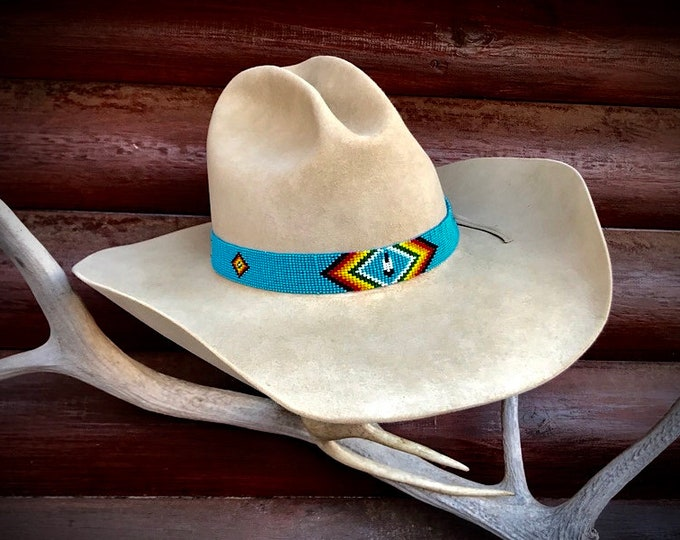 Turquoise beaded hat bands, retro cowboy hat band, diamond pattern, feather, turquoise, green, red, orange, yellow, black, hat accessories