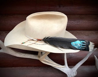 Custom hat feather, hand painted Bear paw a native symbol of power and strength, feather art on wild turkey tail feather, mountain view art