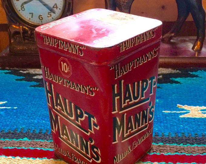 Vintage, antique tobacco tin, Haupt Manns 10 cent cigar tin, stash tin, tobacciana smoke stash tin, vintage cigar, Pennsylvania factory 826