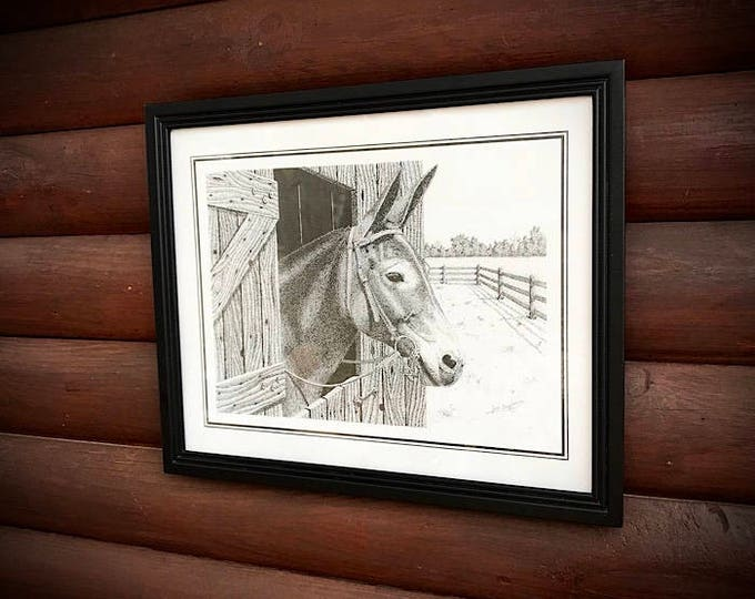 Pen and Ink art by Joe Benjamin, Mule picture and old barn, signed and dated, country home decor, rustic home decor,western decor, mule art