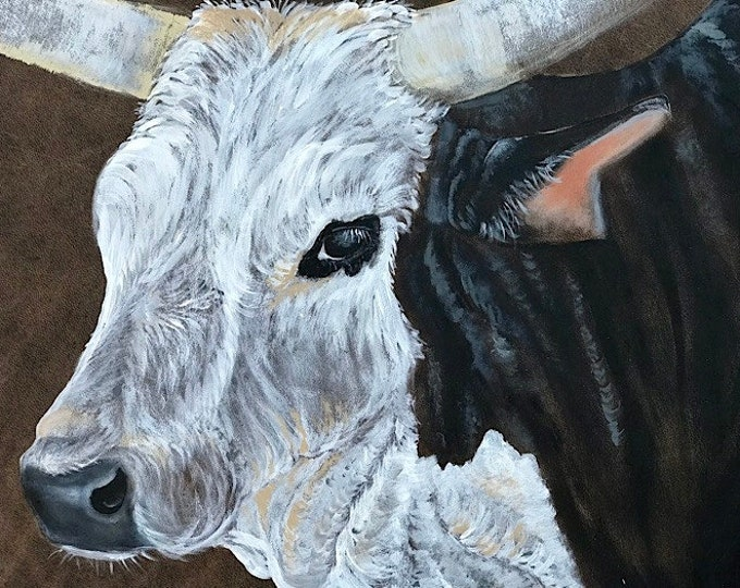 Western art, bull art, PBR bucking bull, original acrylic painting on leather, painted by Kathy Adamson, A27 Reindeer Dippin, rodeo bull