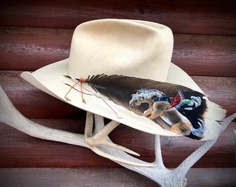 Custom Bronc rider hat feather, bareback bronc riding, hand painted wild turkey tail feather, one of a kind one at a time, western retro art