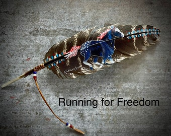 Running for Freedom custom hat feather, cowgirl hat, cowboy hat, patriotic hat feather, American hat feather, original art, handmade in USA