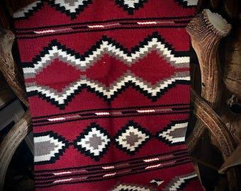 New southwest handwoven wool rug, wall hanging, western accent rug, red, black, cream, tan, 20 x 40, southwestern bohemian, farmhouse decor
