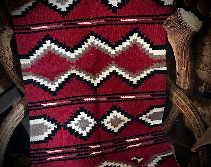 New southwest handwoven wool rug, wall hanging, western accent rug, red, black, cream, tan, 20 x 40, southwestern bohemian, farmhouse decor