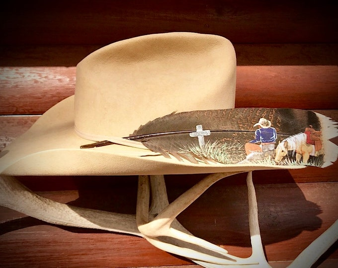 Custom hat feather, cowboys and cowgirls for christ, hand painted cowboy and horse at the wooden cross, western retro, hat accessories, art