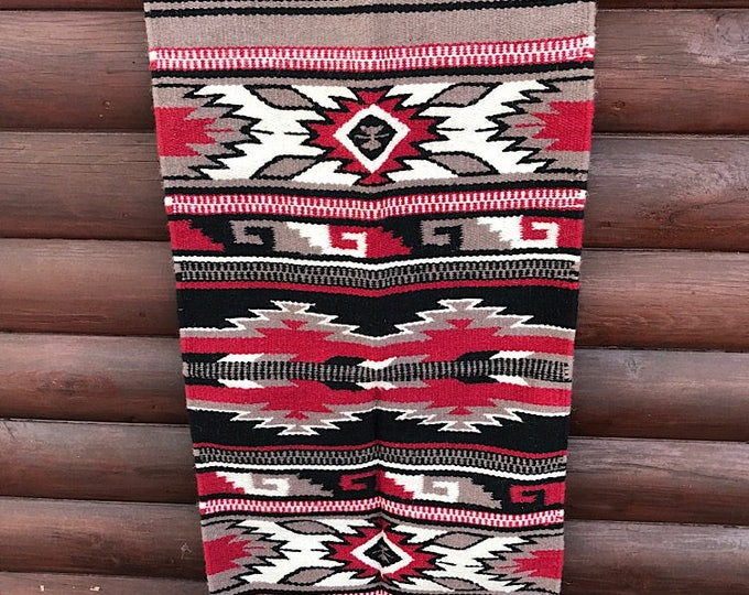 New handwoven wool rug, southwest wall hanging, western home decor, southwestern home decor, rustic home decor, western art, bohemian art