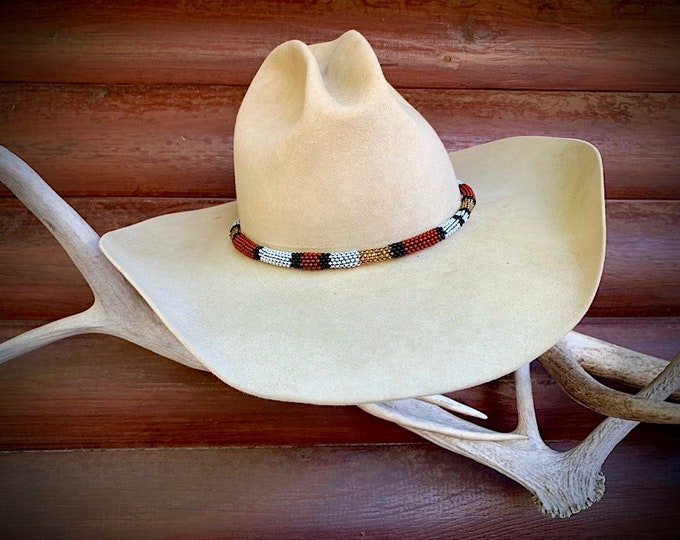 New Round style beaded hat band, western retro cowboy, cowgirl hat, thin 1/2 inch wide round design with draw tie and silver concho, western