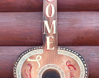 Guitar art, welcome sign, music decor,guitar sign,rustic decor