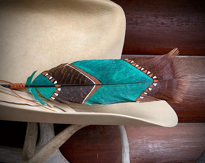 Custom hat feather, new unique pre-tail bronze wild turkey feather hand painted in rusty orange and metallic emerald green, western retro