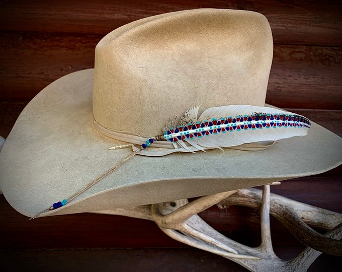 Rare wild turkey hat feather, non typical wing hand painted tribal red,white,blue,turquoise, beaded wind tie, boho,hippie hat, western retro