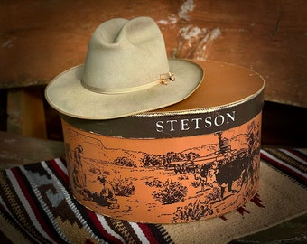 Vintage STETSON HAT, Open Road 7 1/4, Vintage Stetson felt hat and box, Retro Cowboy, Classic Cowboy, vintage western fashion, collector box