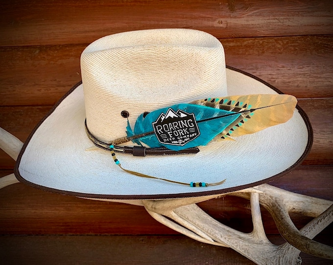 Custom hat feather, your LOGO, company logo, advertising, unique one of a kind for business, western,boho, hippie, hat wear, hat accessory
