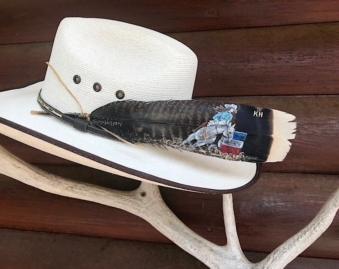Custom hat feather, barrel racer, girls cowboy hat feather, cowboy hat feather, womens barrel racing hat feather, personalized, feather art