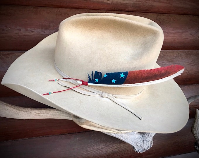 American hat feathers, custom flag feather hand painted rare jake tail wild turkey feather, stars and stripes, western retro fashion art