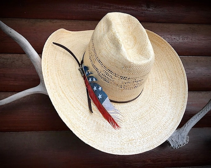American made hat feather, cowboy hat feather hand painted in mini flag design, metallic blue with stars and red, white stripes, cowboy hat