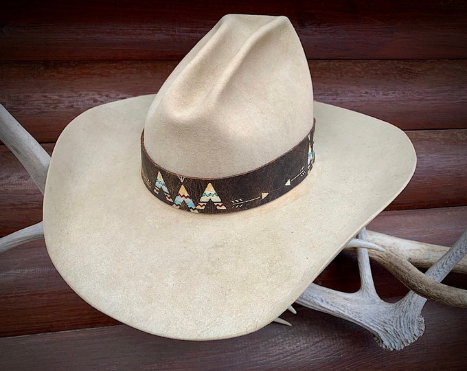 Leather HAT BAND, custom hand painted tee pees and arrows, New Taos Collection, boho hippie hat band, Pendleton, Ralph Lauren retro style