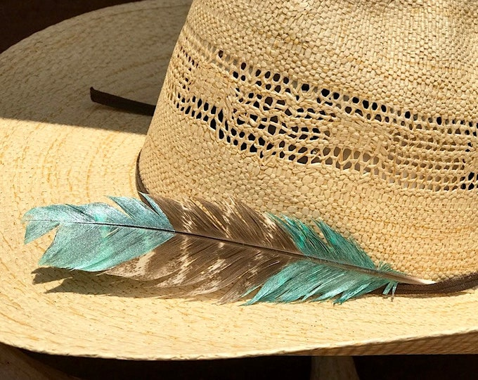504eb3d6 Custom hat feathers, ultra mini size cowboy hat feather, two tone, metallic  turquoise