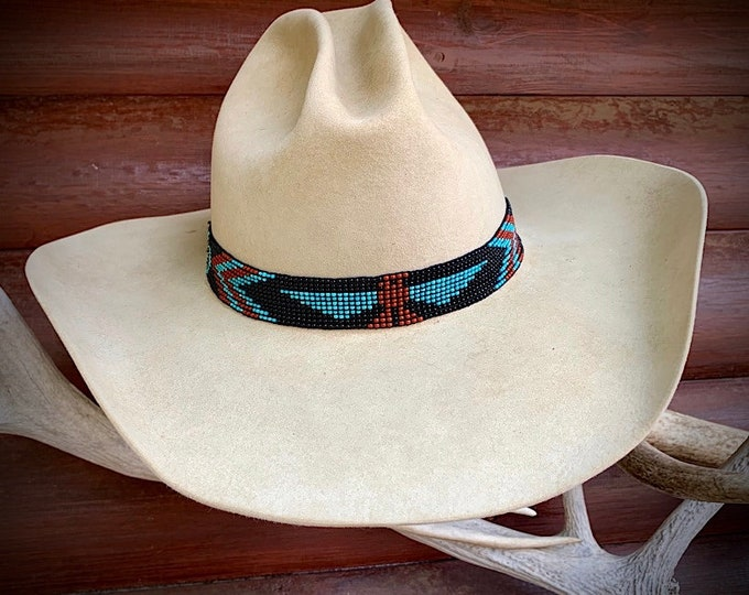 Beaded hat band, elastic stretch to fit style, large thunderbird with cross, turquoise and black, beadwork headband, western retro fashion