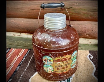 Vintage Brainards little brown jug , crock lined, made by Macomb mfg.co. 1920 thru 1940s, rare crock lined for hot or cold