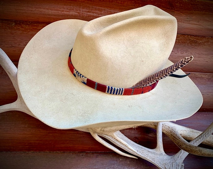 Multi colored cloth HAT BAND, western retro, boho hippie, cowgirl, cowboy hat, rust,deep blue, maroon, beige, a touch of turquoise and brown