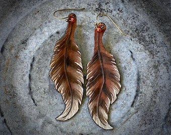 Leather feather earrings, handmade in USA, handcrafted, hand tooled leather brown feather jewelry, boho western, retro, hippie earrings art