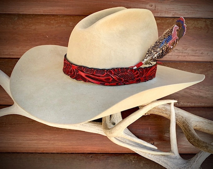Red leather hat band, carved leather band for hat, cowboy and cowgirl hats, western retro hat accessories, one of a kind, handmade, retro
