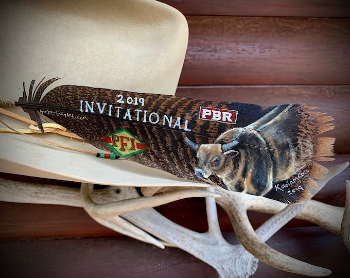 Custom AWARD hat feather, logo and portrait, advertisement, championship award, PFI Western Invitational, bucking bull, PBR bull riders, art