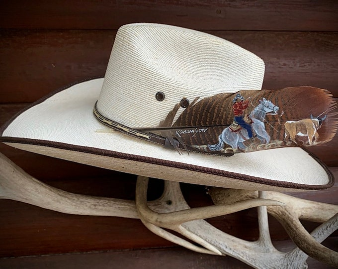 TEAM ROPER custom hat feather, heeler roping steer, cowboy hat feather, cowgirl hats, may be customized your horse, Initials and brands