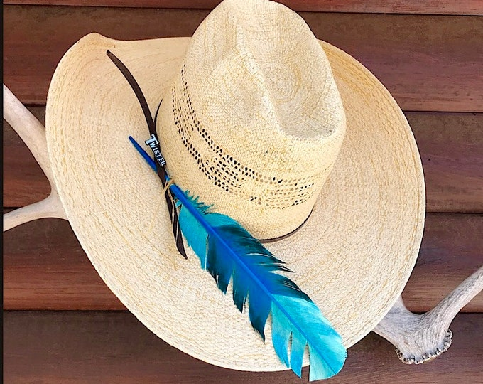 Custom cowboy or cowgirl hat feather, turquoise and emerald blue green, hand dipped, painted turkey feather, american hat feather, western