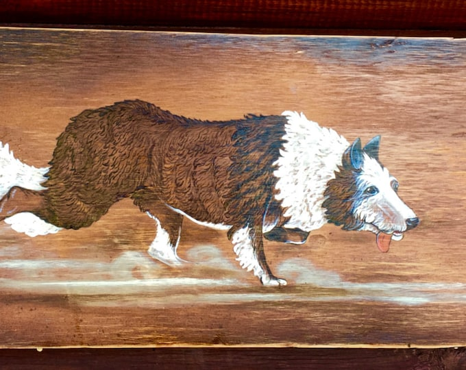 Dog art, Border Collie, original hand painted acrylic on wood, signed and numbered, pet portraits