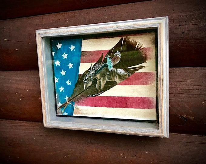 Feather art, hand painted feather in rustic western wood shadow box presentation, hand painted rustic american flag canvas background, award