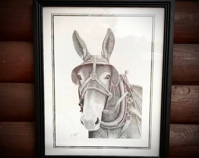 Vintage pen and ink art, Joe Benjamin art, signed and dated by the artist, Silver Dollar City artist