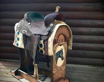 Custom saddle stand, cowboy saddle display, trophy saddle display, saddle rack, western decor