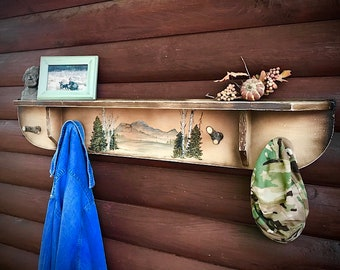 Vintage repurposed shelf, primitive, rustic country farmhouse coat hanger, hat rack, rustic cabin decor, painted mountain scene, aspen trees