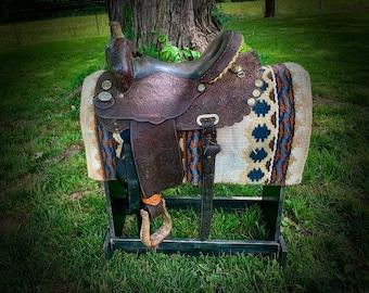 Vintage Marlene Eddleman Barrel racing saddle, Circle Y of Yoakum, World Champion barrel Racer, scalloped Round skirt, 15 inch seat, custom