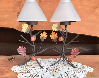 Vintage pair iron candle holders, fall decor, fall leaves and acorns, Thanksgiving decor, tea light candles