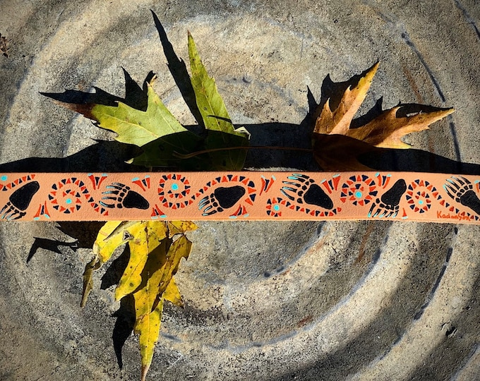 Doodle Cuff, Hand painted leather cuff bracelet, with native style design with bear paw prints, men or womens leather cuff, southwest tribal